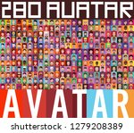 set of diverse avatars with... | Shutterstock .eps vector #1279208389