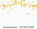 golden party flags with... | Shutterstock .eps vector #1279217059