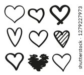 hand drawn grunge hearts on... | Shutterstock .eps vector #1279227973