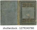 Old open book cover in gray canvas with embossed golden abstract and floral decorations (circa 1880), isolated on white, beautiful details, XL size