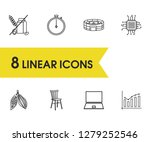 universal icons set with chair  ...
