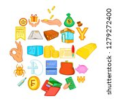 debt icons set. cartoon set of... | Shutterstock .eps vector #1279272400