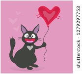 black cat with a balloon in the ...   Shutterstock .eps vector #1279297753