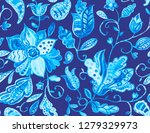 paisley watercolor floral... | Shutterstock . vector #1279329973