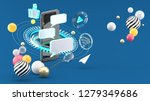 send messages on smartphones... | Shutterstock . vector #1279349686