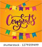 congrats hand lettering word.... | Shutterstock .eps vector #1279359499