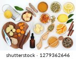 ingredients for cold and flu... | Shutterstock . vector #1279362646