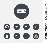 set of 9 airplane icons set.... | Shutterstock . vector #1279368376