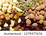 mix of dried fruits and nuts | Shutterstock . vector #1279377676