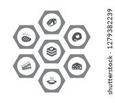 set of 7 dish icons set.... | Shutterstock . vector #1279382239