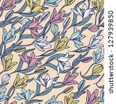 vector floral seamless pattern... | Shutterstock .eps vector #127939850