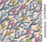 vector floral seamless pattern... | Shutterstock .eps vector #127939850