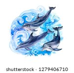 Dolphins In The Sea Waves. A...