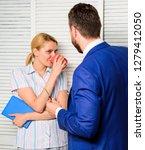 conversation between colleagues.... | Shutterstock . vector #1279412050