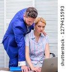 conversation between colleagues.... | Shutterstock . vector #1279415593