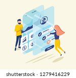 people testing the interface... | Shutterstock .eps vector #1279416229