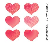 scribbled hearts set with hand... | Shutterstock .eps vector #1279418050