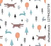 seamless scandinavian pattern... | Shutterstock .eps vector #1279420759