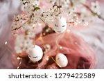 handmade easter eggs with... | Shutterstock . vector #1279422589