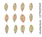 hand drawn leaves set. isolated ... | Shutterstock .eps vector #1279429549