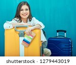 smiling young woman with two... | Shutterstock . vector #1279443019