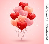 happy valentines day  red  pink ... | Shutterstock .eps vector #1279446493