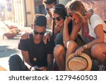 group of friends on vacation... | Shutterstock . vector #1279460503