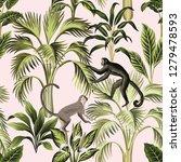 tropical vintage botanical palm ... | Shutterstock .eps vector #1279478593