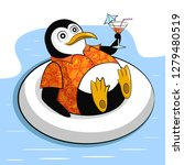cute penguin on vacation in... | Shutterstock .eps vector #1279480519