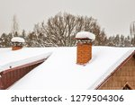 two red brick chimneys with... | Shutterstock . vector #1279504306