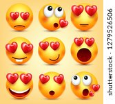 emoji smiley with red heart... | Shutterstock .eps vector #1279526506