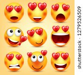 emoji smiley with red heart... | Shutterstock .eps vector #1279526509