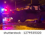 night road car accident. car... | Shutterstock . vector #1279535320