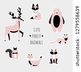 set of cute forest animals.... | Shutterstock .eps vector #1279558639