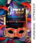 mardi gras carnival design with ... | Shutterstock .eps vector #1279565119