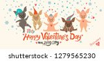 valentines card with five cute... | Shutterstock .eps vector #1279565230