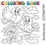 coloring book bird theme 2  ... | Shutterstock .eps vector #127960790