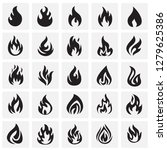flame icon set on squares... | Shutterstock .eps vector #1279625386