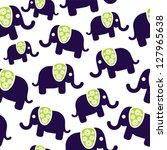 seamless retro elephant pattern | Shutterstock .eps vector #127965638