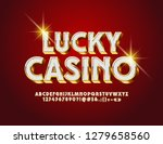 Stock vector vector luxury logo lucky casino royal alphabet letters numbers and symbols stylish white and 1279658560