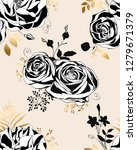 floral pattern.  black and... | Shutterstock .eps vector #1279671379