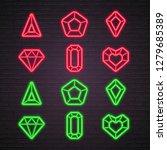 set of stones icon neon light... | Shutterstock .eps vector #1279685389