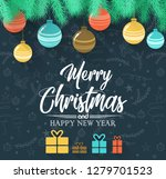 merry christmas and 2019 happy... | Shutterstock .eps vector #1279701523