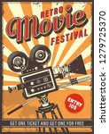 cinema vintage colour poster... | Shutterstock . vector #1279725370