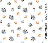 watercolor coffee macchiato cup ...   Shutterstock . vector #1279741516