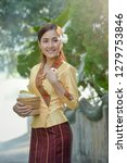 woman wearing laos traditional... | Shutterstock . vector #1279753846