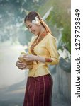 woman wearing laos traditional... | Shutterstock . vector #1279753849