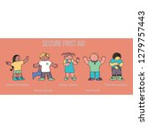 set of kids in seizure first... | Shutterstock .eps vector #1279757443