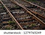 closeup view of railway tracks... | Shutterstock . vector #1279765249