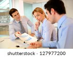 sales director presenting... | Shutterstock . vector #127977200